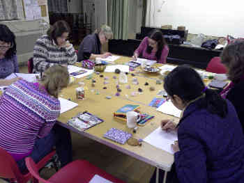 Enjoying our mandala drawing evening
